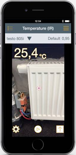 Testo lézeres infrahőmérő 10:1 optikával -30 tól 250 °C-ig bluetooth funkcióval, Smart készülékekhez Testo 805i Smart