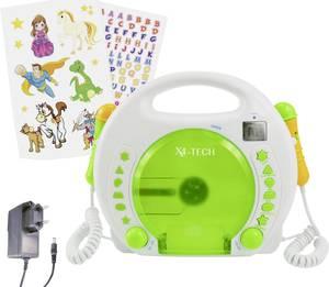 Gyermek CD lejátszó X4 Tech Bobby Joey CD, SD, USB Karaoke funkcióval, Mikrofonnal Fehér, Zöld X4 Tech