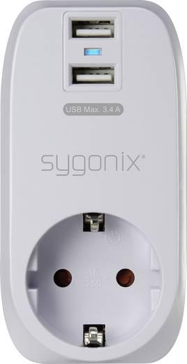 Hálózati USB töltő konnektor adapter, 2 USB aljzattal 230V/AC 5V/DC max.3400 mA Sygonix 17863X1