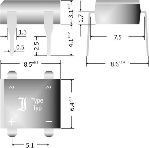 Szilícium hídegyenirányító, ház típus: DIL (7,5 x 5,1 mm Raster), névleges áram 1 A, U(RRM) 1000 V, Diotec B500D