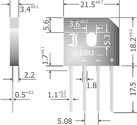 Szilícium hídegyenirányító, ház típus: SIL, névleges áram 6 A, U(RRM) 1000 V, Diotec GBU6M