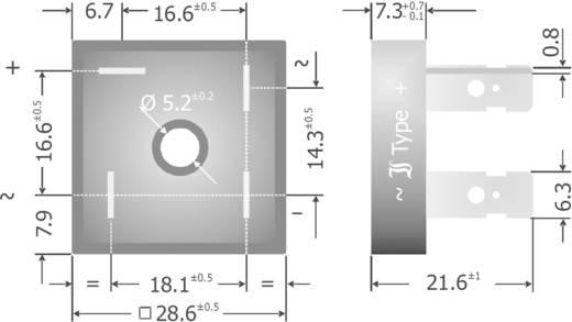 Szilícium hídegyenirányító, ház típus: Plastic, névleges áram 10 A, U(RRM) 200 V, Diotec KBPC10/15/2502FP
