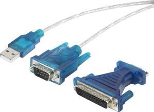 USB soros átalakító kábel, USB-ről D-SUB 9 pólusú + D-SUB 25 pólusú csatlakozóra, aranyozott, Renkforce Renkforce