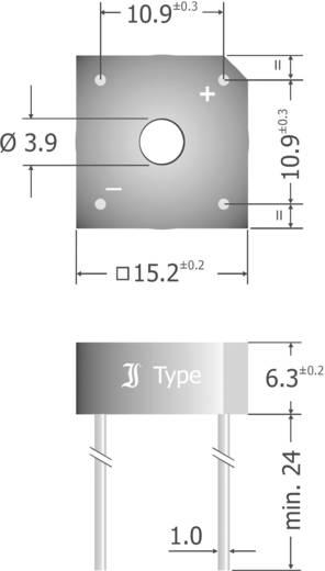 Szilícium hídegyenirányító, ház típus: Plastic, névleges áram 6 A, U(RRM) 400 V, Diotec KBPC604