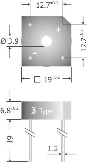 Szilícium hídegyenirányító, ház típus: Plastic, névleges áram 8 A, U(RRM) 800 V, Diotec KBPC808