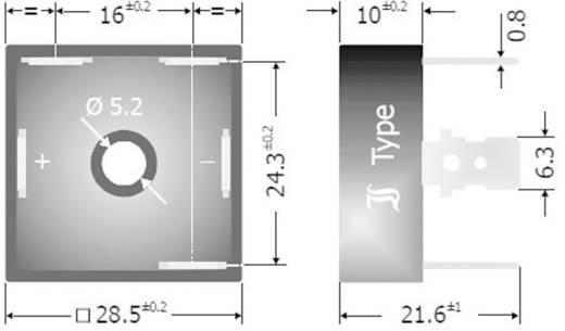 3 fázisú híd egyenirányító, ház típus: műanyag, névleges áram: 25 A U(RRM) 1200 V, DB25 Diotec DB25-12