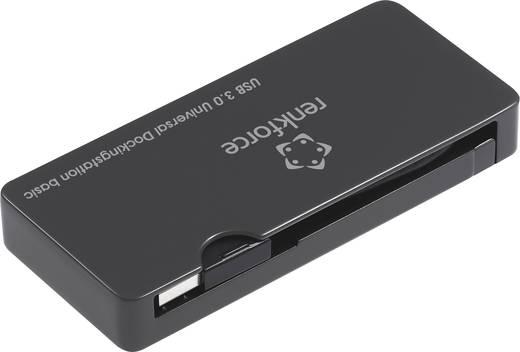 USB 3.0 dokkoló állomás USB 3.0, USB 2.0, Gigabit-LAN, DVI- és HDMI csatlakozókkal, fekete, Renkforce