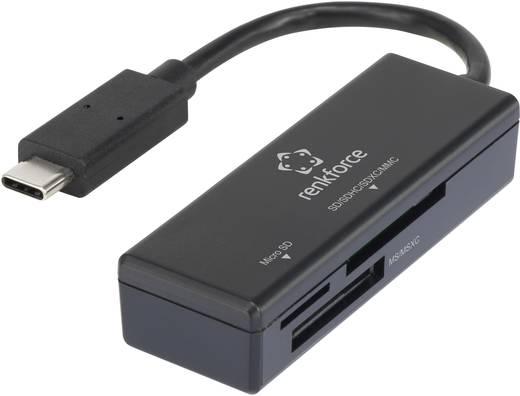 Külső memóriakártya olvasó USB-C, fekete, renkforce CR41e