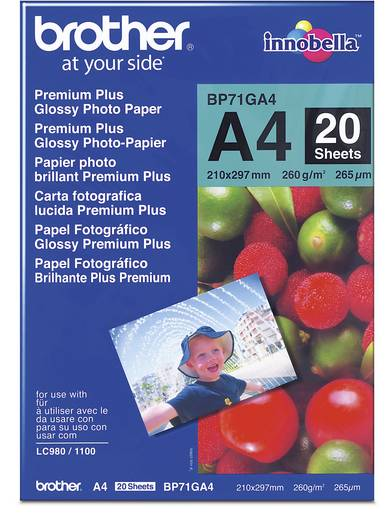 Fénykép papír Brother BP71GA4 DIN A4 260 gm² 20 lap Magasfényű