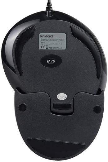 USB-s optikai egér, ergonómikus, fekete, renkforce M618BU