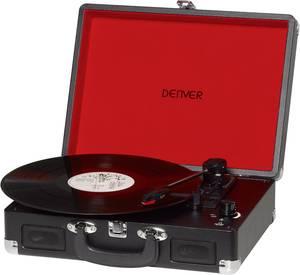 Retro koffer lemezjátszó, USB-s bakelit lemezjátszó beépített digitalizálóval, fekete színű Denver VPL-120 Denver