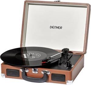 Retro koffer lemezjátszó, USB-s bakelit lemezjátszó beépített digitalizálóval, barna színű Denver VPL-120 Denver
