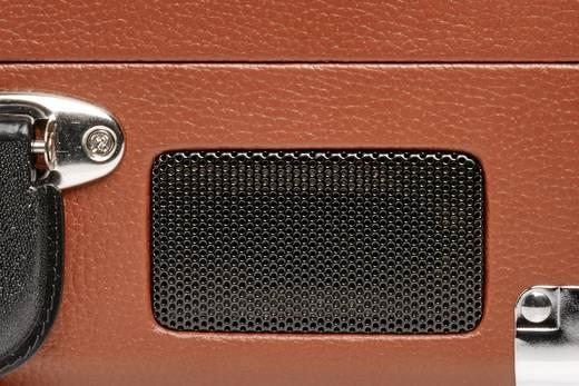 Retro koffer lemezjátszó, USB-s bakelit lemezjátszó beépített digitalizálóval, barna színű Denver VPL-120