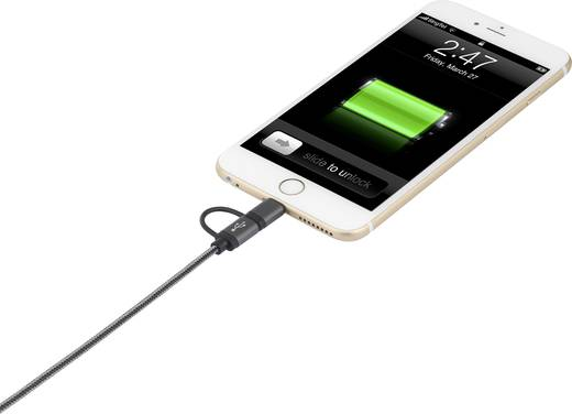 Apple Lightning - Micro USB, USB átalakító töltőkábel, adatkábel iPhone iPad iPod 1m Renkforce 1413963