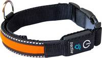 LED-es kutyanyakörv, narancs, M, Tractive tractive