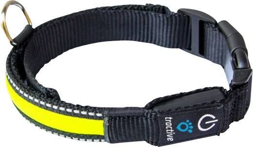 LED-es kutyanyakörv, sárga, S, Tractive