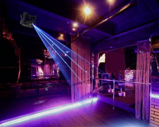 Lézer fényeffekt, mini diszkó lézer, kék lézerfénnyel, beépített villogó stroboszkóppal Renkforce GLP03-LJB