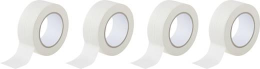 Krepp ragasztószalag, fehér, 50 m x 50 mm, kaucsuk, 4 tekercs, TOOLCRAFT
