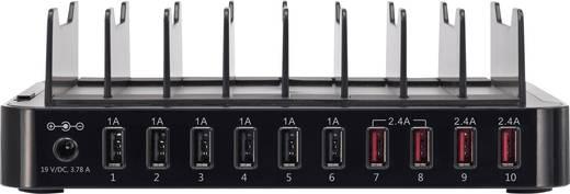 Hálózati USB töltőállomás, USB Hub dokkoló 10 USB aljzattal 100-240V/AC 5V/DC max. 13.2 A Voltcraft PS-10