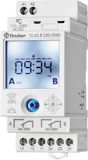 Digitális heti időkapcsoló, DIN sínes, 90 - 264 V DC/AC 2 váltó 16 A 250 V/AC 750 VA, Finder 12.62.8.230.0000