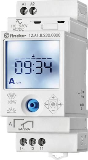 Időkapcsoló óra asztro funkcióval, DIN sínes, 90 - 264 V DC/AC 1 váltó 16 A 250 V/AC 750 VA, Finder 12.A1.8.230.0000