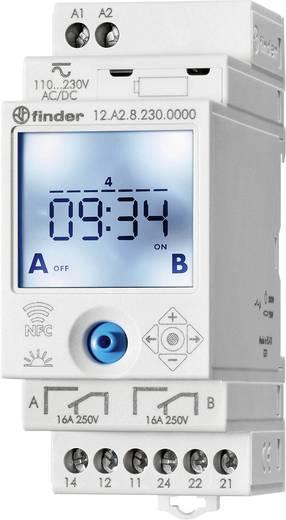 Időkapcsoló óra asztro funkcióval, DIN sínes, 90 - 264 V DC/AC 2 váltó 16 A 250 V/AC 750 VA, Finder 12.A2.8.230.0000