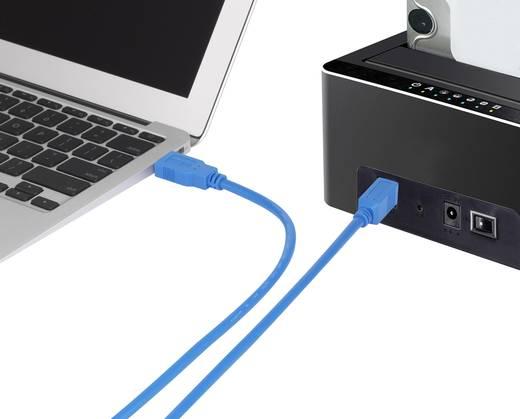 USB 3.0 csatlakozókábel, 1x USB 3.0 dugó A - 1x USB 3.0 dugó B, 1,8 m, kék, aranyozott, renkforce