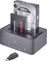 Merevlemez dokkoló állomás klónozó és törlő funkcióval USB 3.0 SATA 2 port, renkforce Renkforce