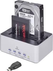 Merevlemez dokkoló állomás klónozó funkcióval USB 3.0 SATA 2 port, renkforce Renkforce