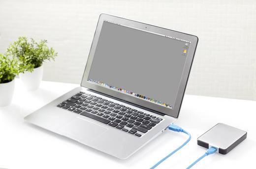 USB 3.0 csatlakozókábel, 1x USB 3.0 dugó A - 1x USB 3.0 dugó mikro B, 0,5 m, kék, aranyozott, renkforce