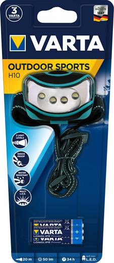 LED-es fejlámpa, elemes, kék/fekete, Varta Outdoor Sports 16630101421