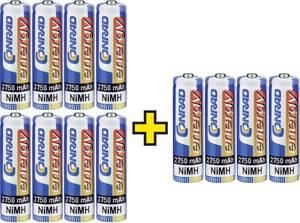 Ceruza akku AA, NiMH, 1,2V 2750 mAh, 12 db, Conrad Energy LR06, AA, LR6, AAB4E, AM3, 815, E91, LR6N Conrad energy