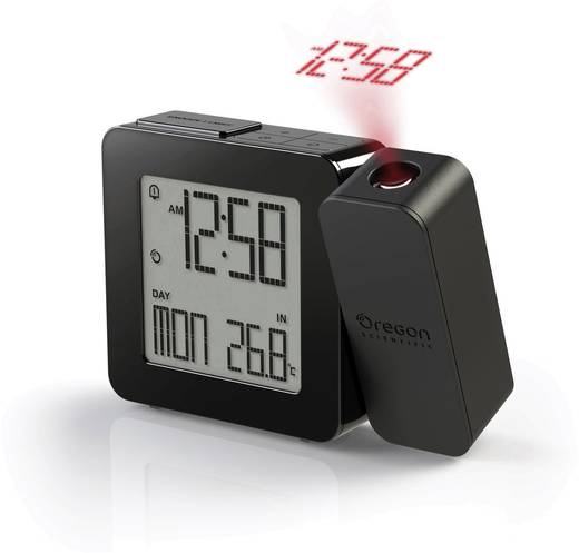 Kivetítős ébresztőóra, belső hőmérséklet kijelzéssel, fekete, 26 x 128 x 99 mm, Oregon Scientific PROJI RM338P