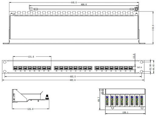 24 portos patch panel, CAT 6, renkforce