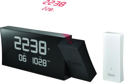 Rádiójel vezérelt kivetítős ébresztőóra, külső hőmérővel, fekete, Oregon Scientific RMR 222P