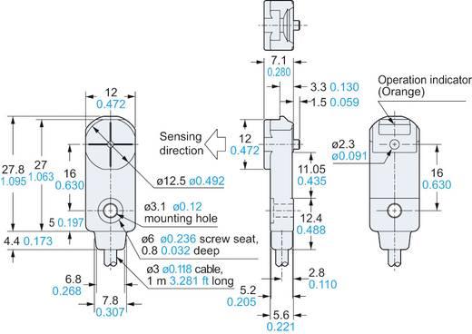 Induktív közelítés kapcsoló, kapcsolási távolság: 0-4 mm, Panasonic GX-F12A-P