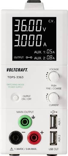 Digitális labortápegység, 2 USB kimenettel 1 - 36 V/DC 0.25 - 3 A 100 W VOLTCRAFT TOPS-3363