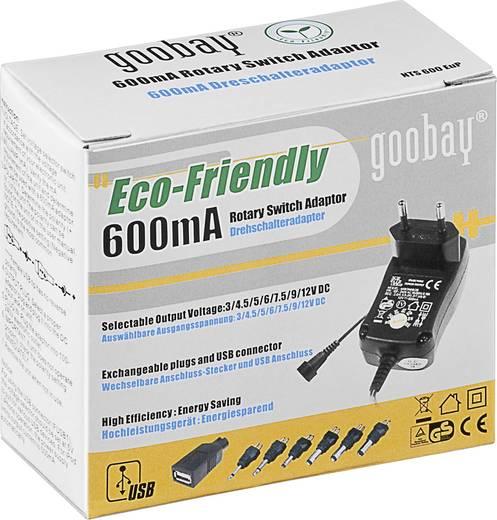 Dugasztápegység, beállítható Goobay 53995 3 V/DC, 4.5 V/DC, 5 V/DC, 6 V/DC, 7.5 V/DC, 9 V/DC, 12 V/DC 600 mA 7.2 W