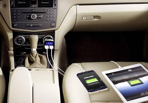 Szivargyújtó USB adapter, autós USB töltő akkufeszültség kijelzéssel 12/24V 3,1A Voltcraft VC12/24V 3.1A