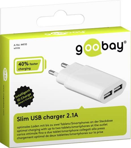Hálózati USB töltő adapter 2 USB aljzattal 115-230V/AC 5V/DC max. 2100mA Goobay 44110
