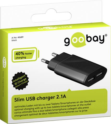 USB-s töltőkészülék Aljzat dugó Goobay 45689 2 x USB Kimeneti áram (max.) 2100 mA