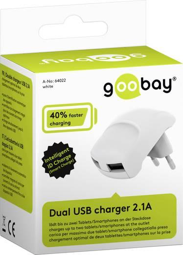 USB-s töltőkészülék Aljzat dugó Goobay 64022 2 x USB Kimeneti áram (max.) 2100 mA