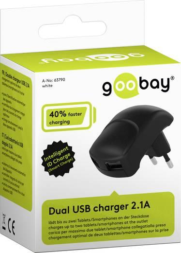 Hálózati USB töltő adapter 2 USB aljzattal 115-230V/AC 5V/DC max. 2100mA fekete színű Goobay 63790