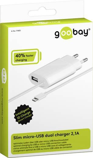 USB-s töltőkészülék Aljzat dugó Goobay 71405 2 x Mikro USB, USB Kimeneti áram (max.) 2100 mA