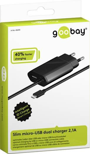USB-s töltőkészülék Aljzat dugó Goobay 45690 2 x Mikro USB, USB Kimeneti áram (max.) 2100 mA
