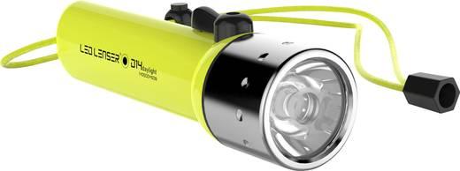 LED-es búvárlámpa csuklópánttal, elemes, 300 lm 233 g, neonsárga, LED Lenser D14.2