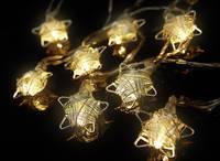 Beltéri LED-es fényfüzér, csillag motívumos, 16 LED, elemes, 3,3 m, melegfehér, Polarlite Polarlite