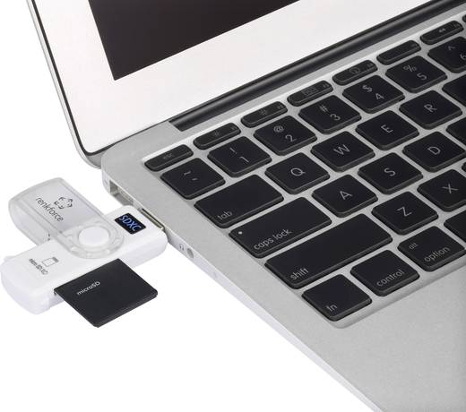 Külső memóriakártya olvasó USB 3.0, fehér, renkforce CR46e