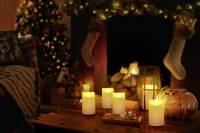 LED-es valódi viaszgyertya, időzítővel, 7,5 x 12,5 cm, elefántcsont, Polarlite Polarlite