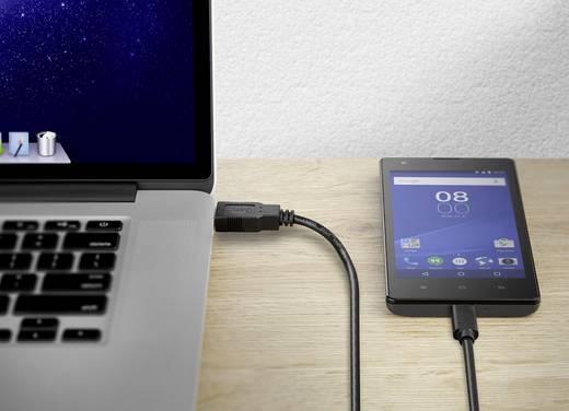 USB 2.0 Csatlakozókábel [1x USB 2.0 dugó, A típus - 1x USB-C dugó] 1 m Fekete Aranyozatt érintkező Renkforce